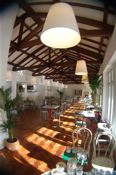Stone Electrical Avoca Cafe pendant lighting contrast ceiling beams.